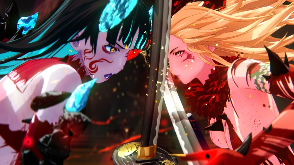 The berserk mode of Aya and Saki in Onee Chanbara Origin. 8Bit/Digi
